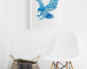 Printable Ravenclaw Eagle Print, Harry Potter Printable Art Print, Blue Watercolor Ravenclaw Art Print, Hogwarts House Printable Art