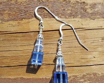 Shimmering Blue Swarovski Crystals, Wire Wrapped in Sterling Silver