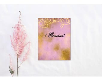 Gold Swirls on Pink-Quince, Sweet Sixteen Thank You Card in Spanish