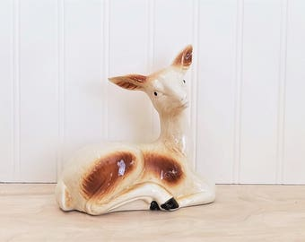 Vintage Mid Century Deer Figurine Doe Figurine Woodland Figurine Fawn Figurine Porcelain Deer Ceramic Deer Vintage Cabin Decor