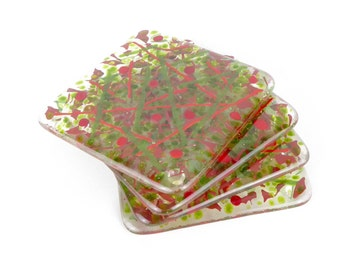 Fused glass coasters, red green coasters, glass drinks coasters