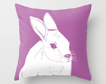 Easter Bunny Pillow, Baby Rabbit Pillow, Radiant Orchid Pillow, Spring Pillow, Purple Pillow, Animal Pillow, Easter Decor, Nursery Pillow