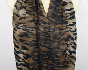Zebra Scarf Brown Infinity Scarf Women Spring Scarves Brown Black Scarf Lightweight Inspirational Women Gift for Mom from Daughter from Son