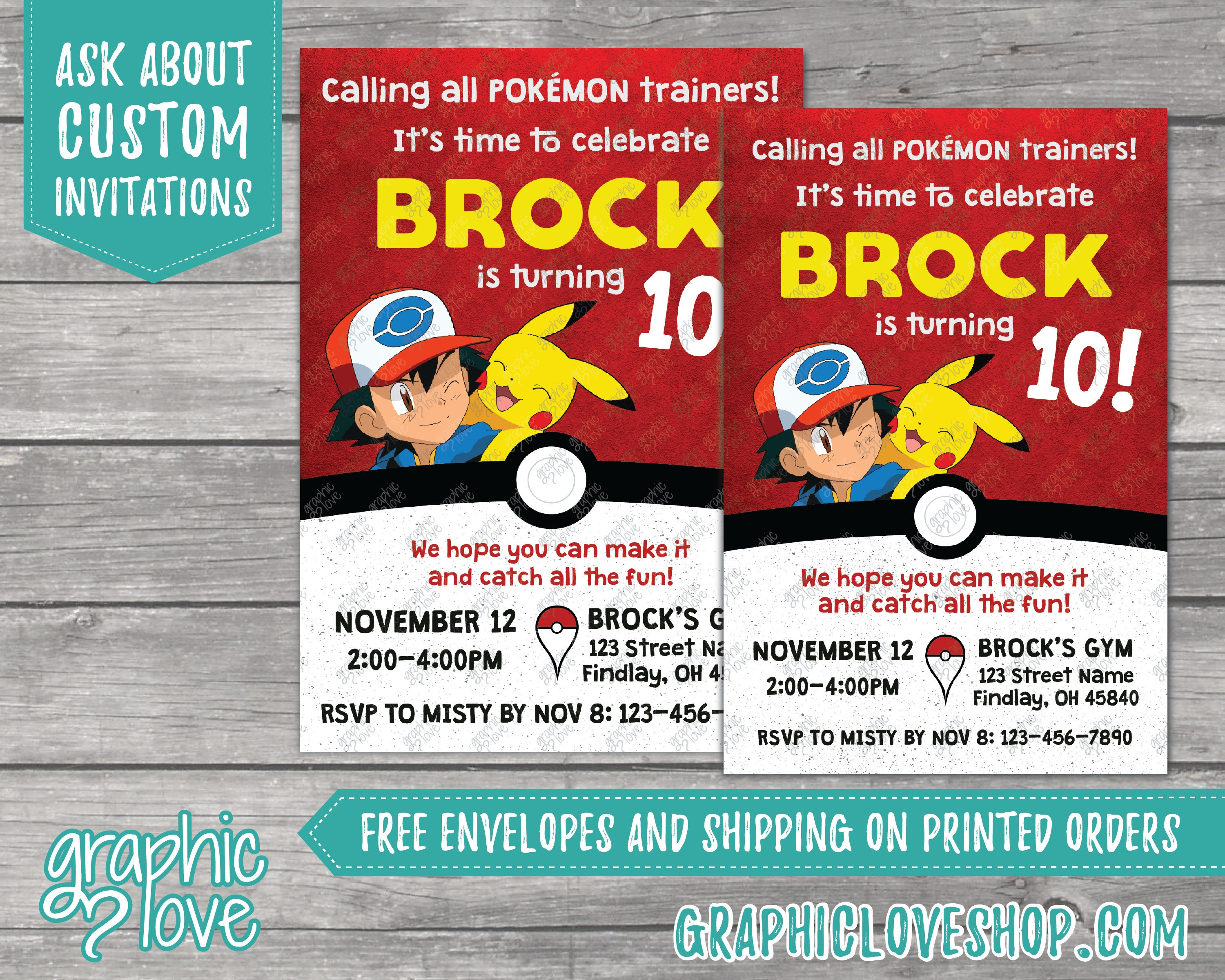 Pokemon Inspired Personalized Birthday Invitations | Any Age, 4x6 or ...