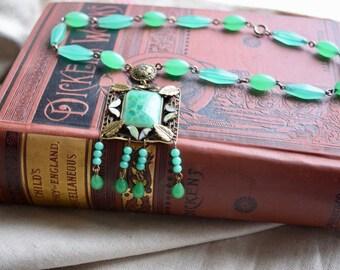 Antique Art Deco Peking Glass and Enamel Choker Necklace, Green Jadite Beads, Dangle Pendant, Gift for Her