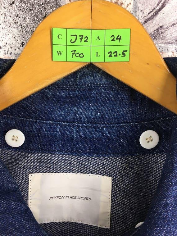 Vintage Medium Trucker Jacket PEYTON Bomber Blue M 80s Jeans Size Jacket Jeans PLACES Peyton Denim Designer Button Yamamoto Japan Miyake qwwI1