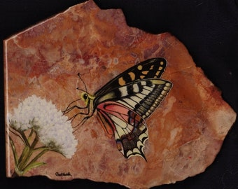 Butterfly oil painting on agate rock,butterfly art