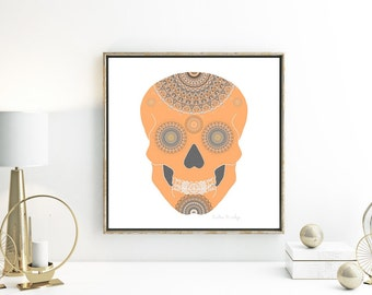 Modern mandala poster gothic present sugar skull art print 11x14 skull decor Halloween wall art all hallows eve grey room light orange white
