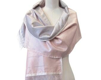 Silk scarf, Blush Pink Scarf, Silver Shawl, Two layers silk Scarf, Velvet trim - Handwoven Silk by Hanieh Fashion, FREE UK SHIPPING!