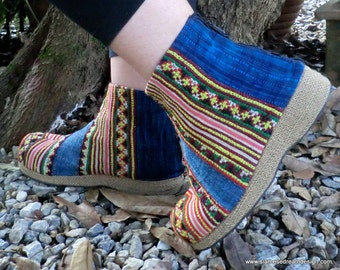 25% Off Clearance Sale- Hmong Embroidered Batik Women's Ankle Boots  US 10