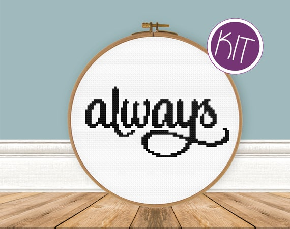 Always Cross Stitch KIT, Easy Beginners Counted Cross Stitch KIT  by Peppermint Purple