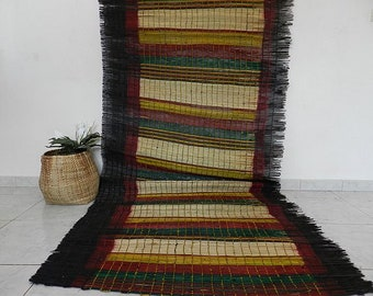 """African floor rug, mat vintage African woven by hand, band and raffia, carpet baby natural mat, 312 centimeter x 127 centimeter (123 """"x 50"""")"""