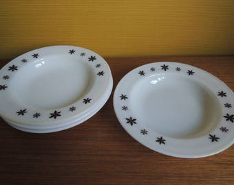 Set of 4 Vintage Jaj Pyrex Snow Flake Pattern Desert Bowls / 60s / Soup Bowls / Milk glass / Medium Bowls