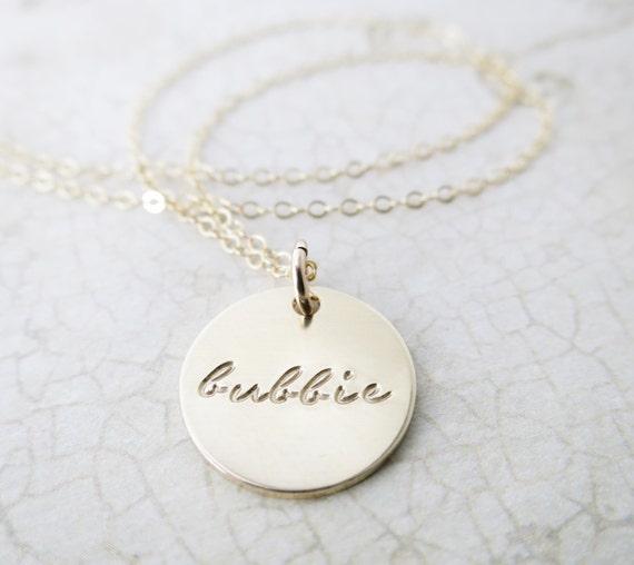 Bubbie Necklace | Bubbie Jewelry | Bubbe Jewelry | Jewish Grandma | Jewish Grandmother | Gold Fill Disc | Gold Fill Pendant | Hand Stamped