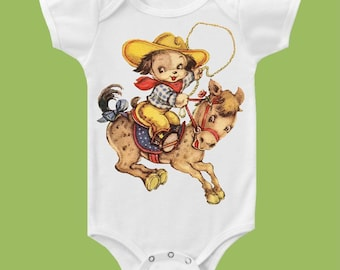 Retro Roping Cowboy,Bronco Puppy, Boutique One Piece Baby, Country Western Baby Boys Clothes or  Tee by ChiTownBoutique.etsy