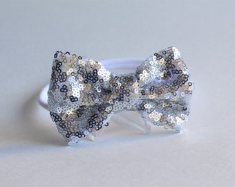 """4"""" Silver Sparkle Sequin Bow- One Size"""