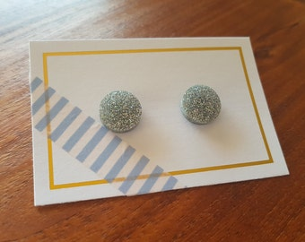 Circle Stud Earrings  - Micro Glitter