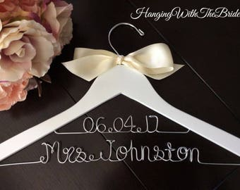 Custom hanger, Wedding, Dress hanger, Personalized hanger, Wedding hanger, Hanger, Shower, Wedding shower gift, Wire hanger, Name hanger