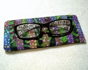 Fabric Eyeglass Case - Quilted Eyeglass Case - Glass Case - Batik Fabric Case - Sunglass - Handmade Case - EGC5