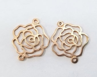 2 pcs,16mm x 14mm, 18K Rose Gold Vermeil Sterling Silver 2 links open work Rose Blossom Link Connector - PC-0013