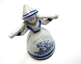 White Blue Delft Figurine Water Girl Dutch Windmill Holland