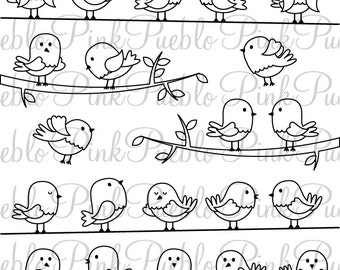 Birds Clipart, Birds Clip Art, Birds Digital Stamps - Commercial and Personal Use