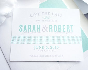 Modern Save the Date Card, Mint Blue Save the Date Cards, Blue and Gray, Save the Dates, Unique Save the Date Card - DEPOSIT
