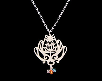 Korean Crown Lotus Necklace, Personalized Birthstone Jewelry Gift for Her, Historical Kdrama Kpop Fan, Custom Gift for Mothers and Sisters