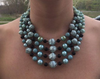 A1 Vintage Blue 4 Strand Necklace Mad Men 60s Prom Party Glam Blue Black