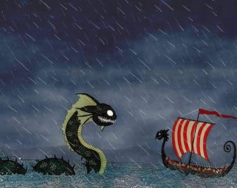 Vikings & Sea Serpent Ship A4 Print