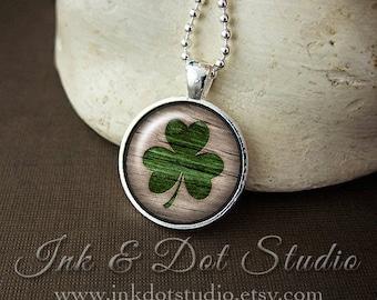 Shamrock Necklace, Faux Burned Wood Glass Pendant, St Patricks Day Necklace, St Patty's Party Necklace, St Paddy's Day