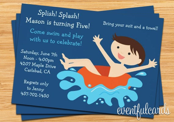 Kids pool party birthday invitation print at home or e card kids pool party birthday invitation print at home or e card filmwisefo Image collections