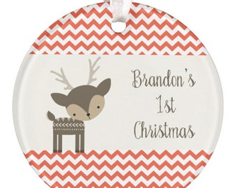 Christmas Ornament Personalized Baby Christmas Ornament Baby Gift 1st Christmas Ornament Deer Ornament Baby Shower Gift RyElle