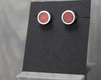 Red Coral Earrings, Silver Coral Earrings, Coral Jewelry,  Silver Earrings, Pewter Earrings, Personalized Earrings