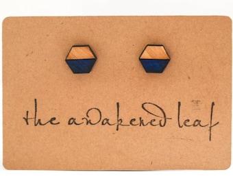 Hexagonal Bamboo Earrings-Handpainted Ultramarine Blue