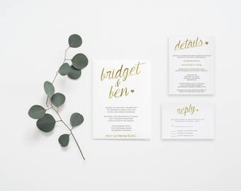 Simple Calligraphy Gold Foil Wedding Invitation Set