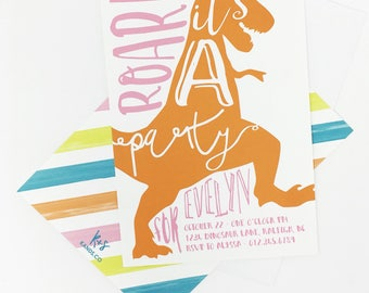 Dinosaur Birthday Invitation | Dinosaur Party, Roar, Bright Colors, Dinosaurs, Tyrannosaurus, T-rex, Typography