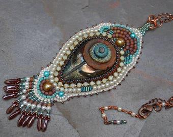 Arizona Bead Embroidery Raku Necklace