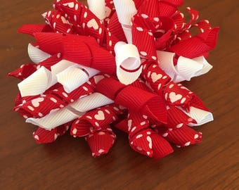 Red and White Valentine Corker Bow