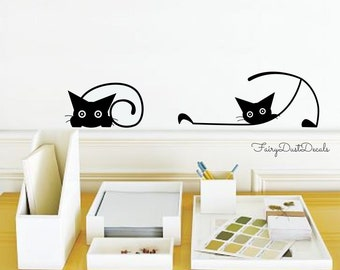 Lovely Cat Wall Decals   Crazy Cats Wall Decals   Set Of 7 Cats In Various Poses