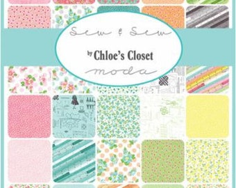"""In Stock SEW & SEW Fabric Collection Layer Cake 42- 10"""" Fabric Squares  Chloe's Closet For Moda Fabric"""