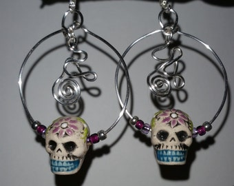 Mexican Sugar Skull Day of the Dead Silver Tribal Hoop Earrings