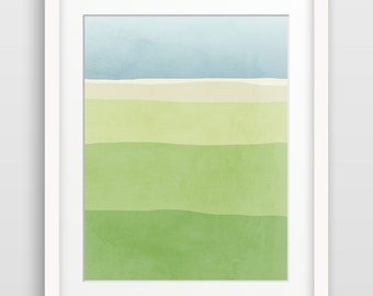 Abstract Watercolor Print, Green Wall Art Print, Bedroom Wall Art, Abstract Landscape Painting, Bedroom Decor