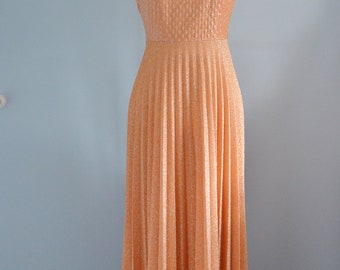 Vintage 60/70s MAD MEN Peach Lurex Glittery Sparkle Evening Long Dress w Matching Jacket