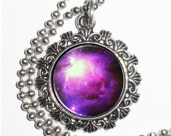 Pink & Violet Nebula Space Art Pendant, Universe Resin Charm Necklace