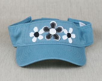Ladies Visor with handmade flower decal