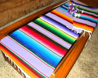 7' long Lavender Serape Cloth Table Runner #SL - Made from Mexican Serape Blanket Fabric - Gorgeous pastel for events or decorating
