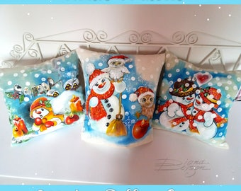 Winter Decor, Hand Painted Pillow Covers, Christmas Pillows, Snowman Pillow Cover, Winter Pillow Case Painted Snowman Decor, Christmas Decor