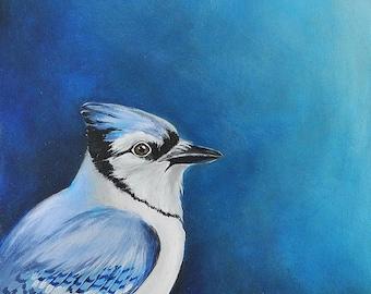 Blue Jay painting - monochrome blue songbird painting - modern bird art - birdwatching art - bird watcher gift - bluejay art original