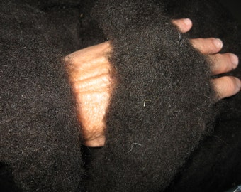 1/2 lb. Black Welsh Mountain Sheep Roping / Roving, rare true black breed, natural undyed